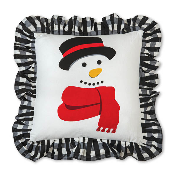 Jolly Snowman Cotton Throw Pillow
