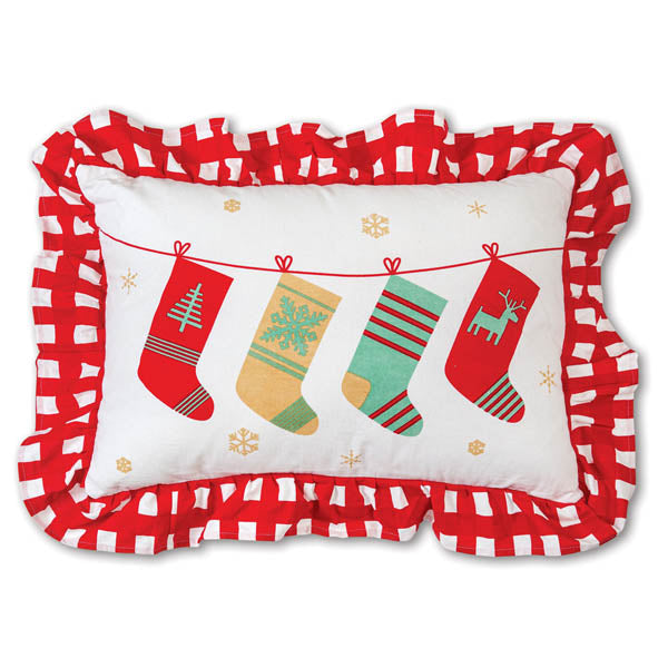 Holiday Stockings Cotton Throw Pillow