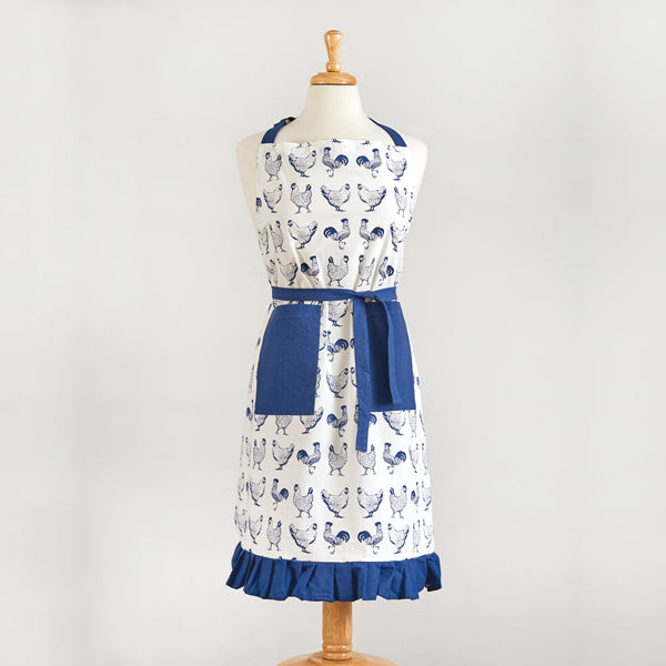 Blue and White Chickens Apron