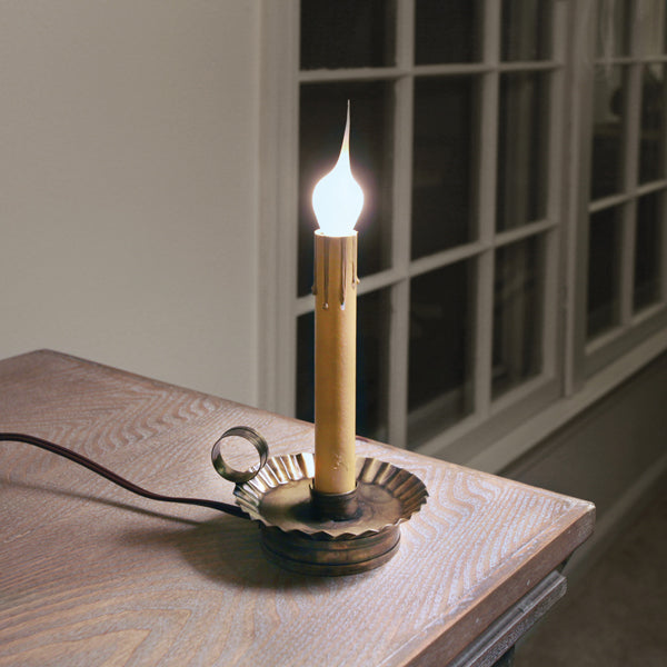 Electric Candle Holder with 6'' Socket - Antique Brass