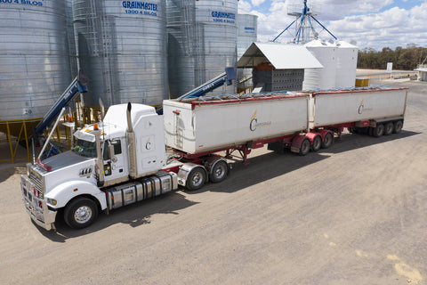carpendale transport truck being filled with wheat