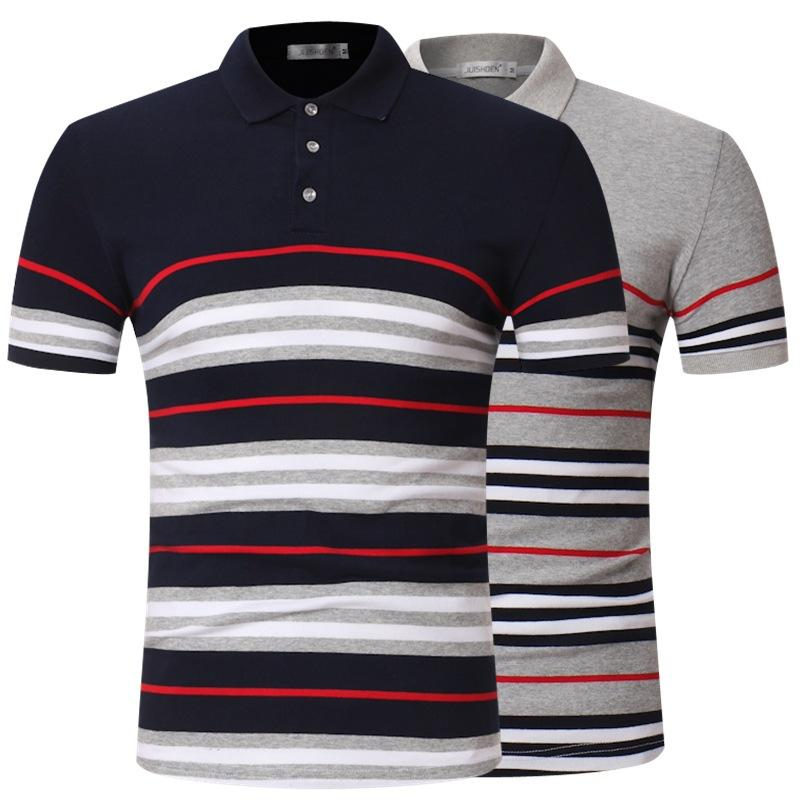 Men's Stripe Polo Casual Collar Fashion Comfortable Breathable