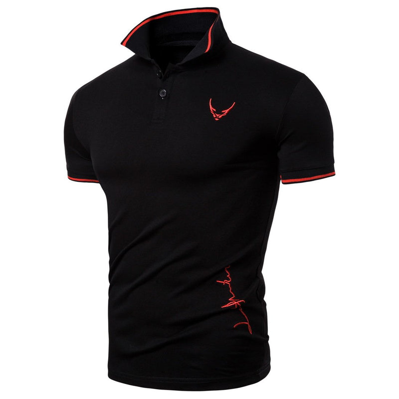 Men's Embroidered Lapel Plus size T-shirt Short Sleeve Polo Shirt