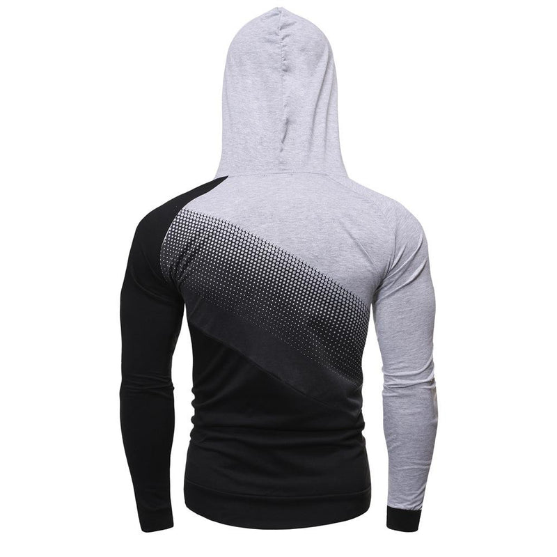 Men Polka Dots GradientSpliced Raglan Sleeve Hoodie