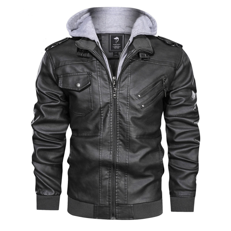 Manswears Outwear Leather Jacket Hooded Motorcycle Coat