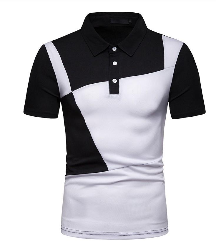 Men's Color Block Patchwork Polo Basic Daily