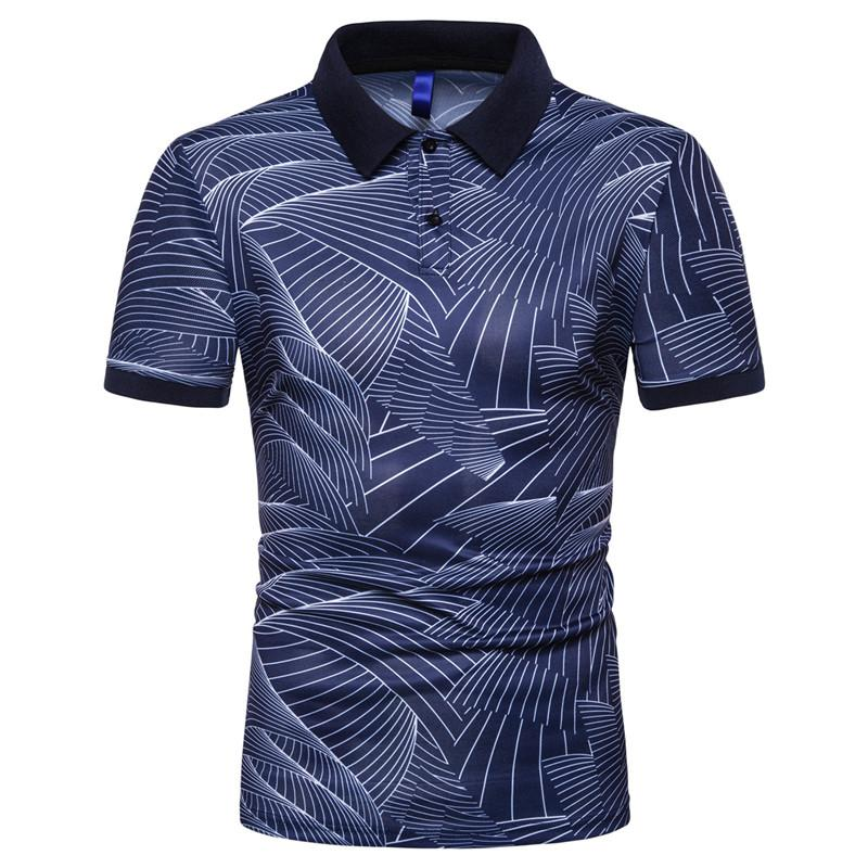 Men's Fashion Print Slim Collar Breathable Polo