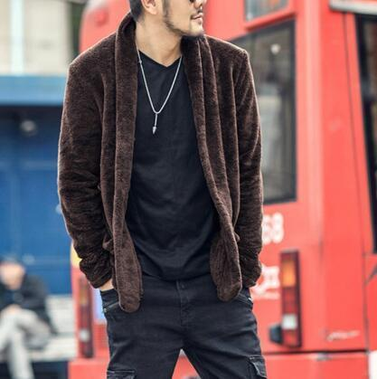 Men Fluffy Woolen Fur Winter Coat