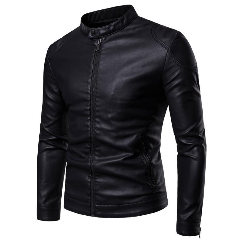 Autumn And Winter  Simple Stand Collar Men Motorcycle Leather Jacket