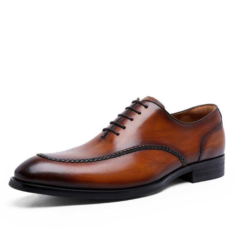 Genuine Leather Business Men Dress Shoes Retro Patent Leather Oxford Shoes