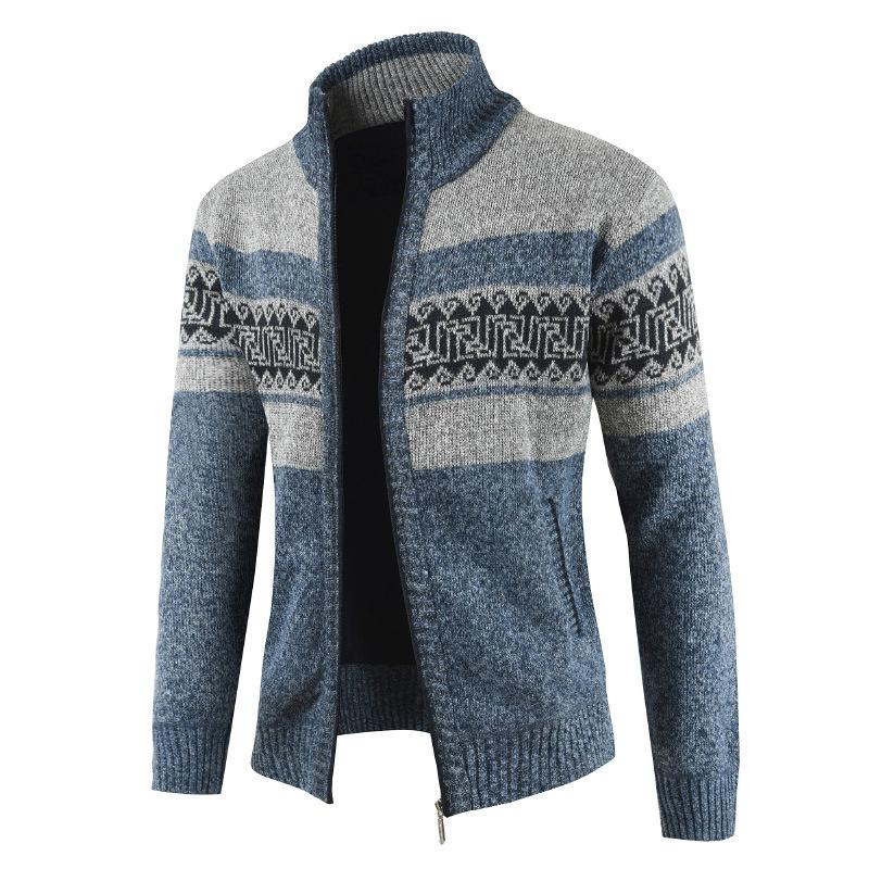 Men New Autumn Winter Stand Collar  Knitted Sweater