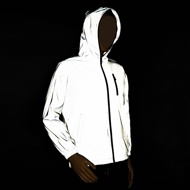 Streetwear men's reflective jacket windbreaker casual hip hop Hooded coats