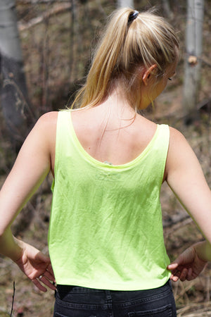 Flow Ladies Boxy Tank in Neon Yellow