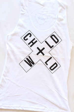 Wild Child Sheer Racerback Tank in White/Black