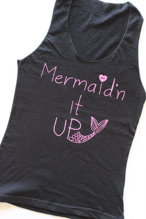 Mermaid'n It Up Sheer Racerback Tank in Black/Pink