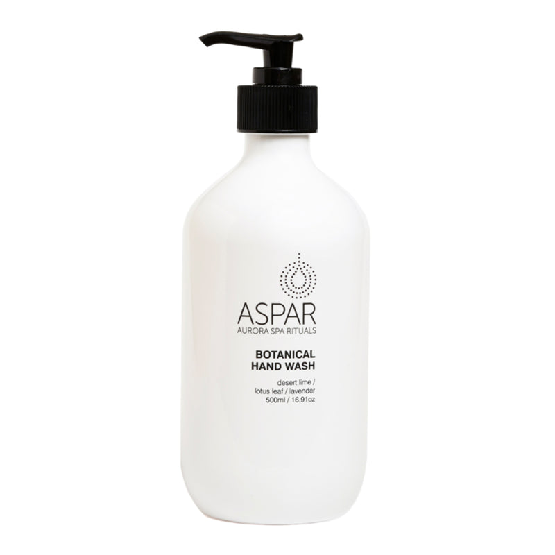 the aspar australian made botanical hand wash in a crisp white bottle with black text noting ingredients of dessert lime, lotus leaf and lavender