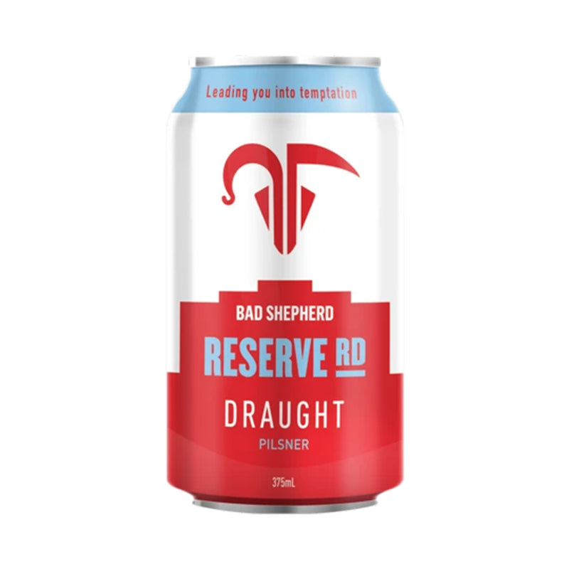 bad shepherd reserve road beer in a light blue and red can 375ml