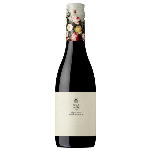 This wine displays black cherry, strawberry, liquorice and brown spice characters that are medium to light in feel but energetic and long in flavour. tread softly pinot noir in half size at 375 ml with a pretty flower printed lid
