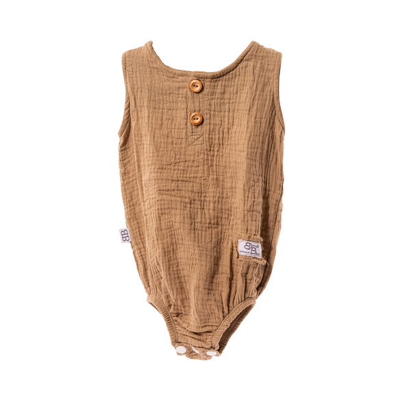 bondi booti mocha coloured baby romper sized 0-6 months with 2 buttons up the top and 3 and the bottom for easy changing