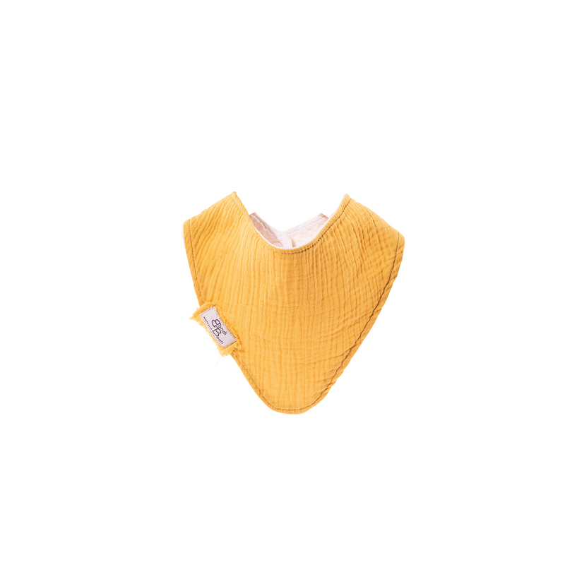 organic cotton mustard yellow baby bib with a textured cotton and bondi booti tag on the side