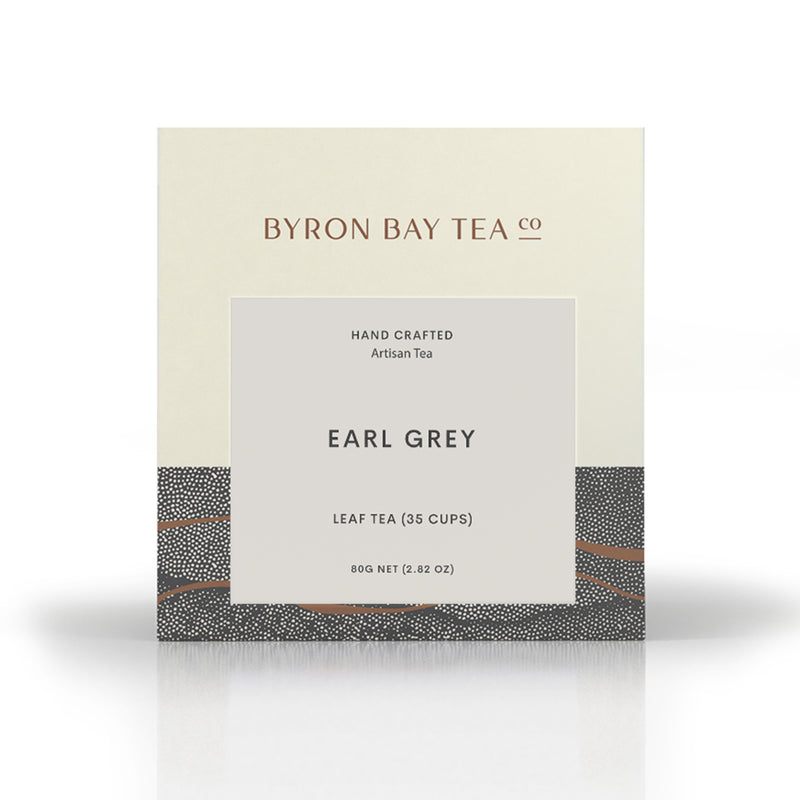 early grey byron bay tea in loose leaf which makes up to 35 cups of tea. handcrafted artisan tea