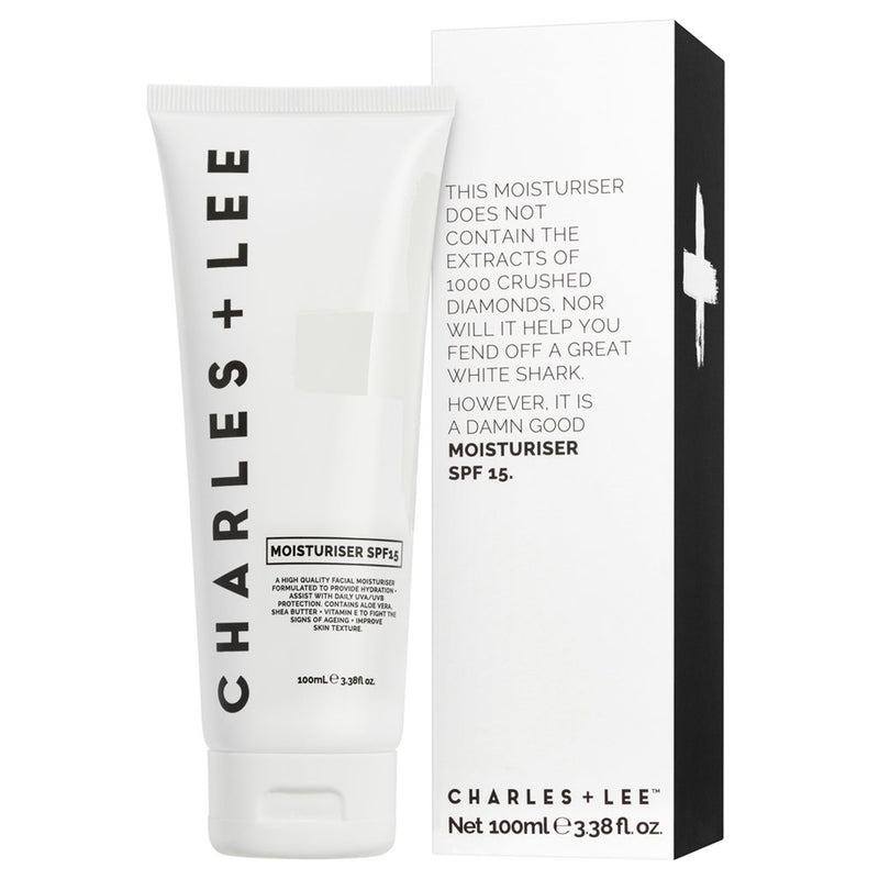 charles and lee spf 15+ moisturiser for men made in Melbourne, Australia. Stored in a 100ml squeezie tube for all skin types