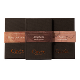 Cuvee chocolate made in Melbourne Australia in 3 different flavours of Soleo milk chocolate, Amphora 65% dark chocolates and Blanc de caramel made with 42% caramelised chocolate with sea salt. So delicious and beautiful dark packaging.