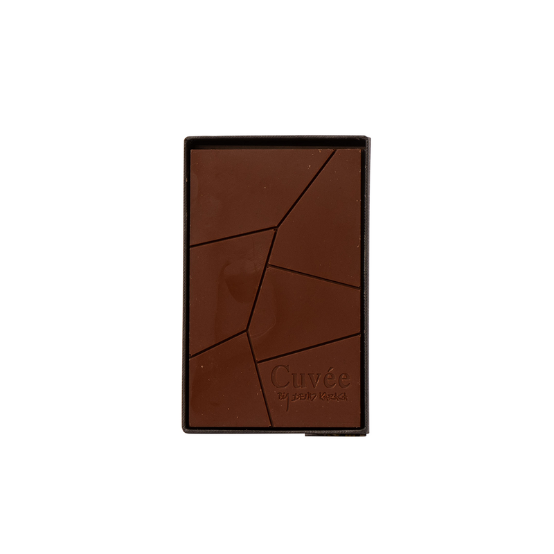 cuvee chocolate featuring a black linen packet and to be wine matched