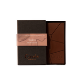 Cuvee 42% milk chocolate in linen packaging to be wine matched with chardonnay, moscato, port and other dessert wines.