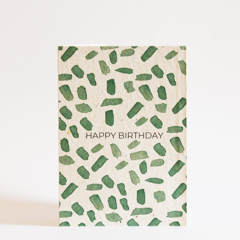 australian made plantable gift card with green print on the front and the words happy birthday in capital letters, printed on recycled paper