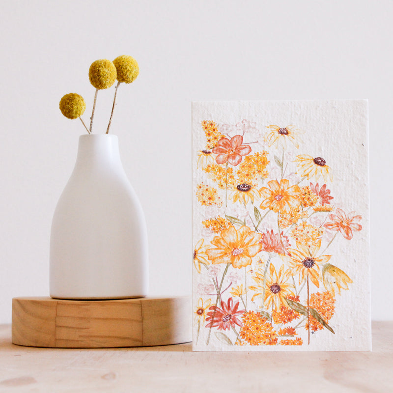 hello petal shades of sunshine plantable greeting cards available to shop online at milly and marr melbourne, australian made gifts. features butterflies and daisys in yellow on the front of the card.  blank on the inside