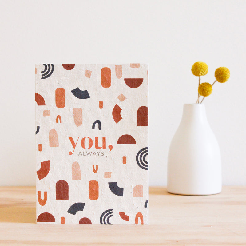 the hello petal you always plantable gift cards, made in australia. A rustic geometric print in burnt orange on ivory recycled paper
