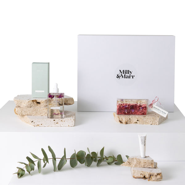 milly and marr australian made gift packs including bramble and hedge raspberry coated nougat and peggy sue body oil. also includes aspar lip balm In a white keepsake magnetic gift box