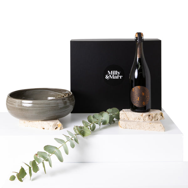 milly and marr corporate gift box showing the unique australian made robert gordon ceramic bowl and zonzo estate vintage sparking wine