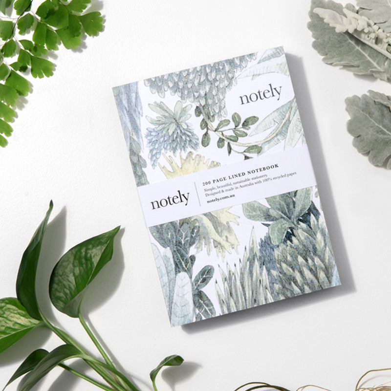 the botanical printed journal rests on a white background with various fresh greenery laid around