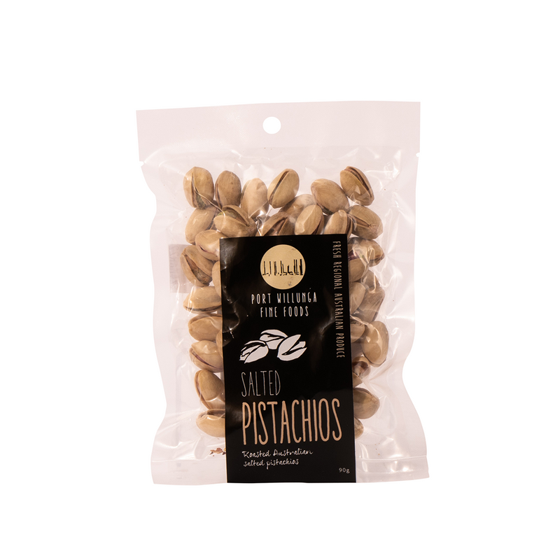 port willunga salted pistachios in a plastic krivac bag