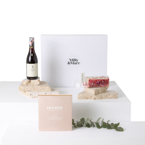 the perfect trio of australian made products, tread softly pinot noir, a bramble and hedge nougat and an additions studio bath brew milk bath tea bag in a white magnetic keepsake gift box