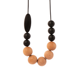 tiny moons wooden beaded necklace made with silicone beads
