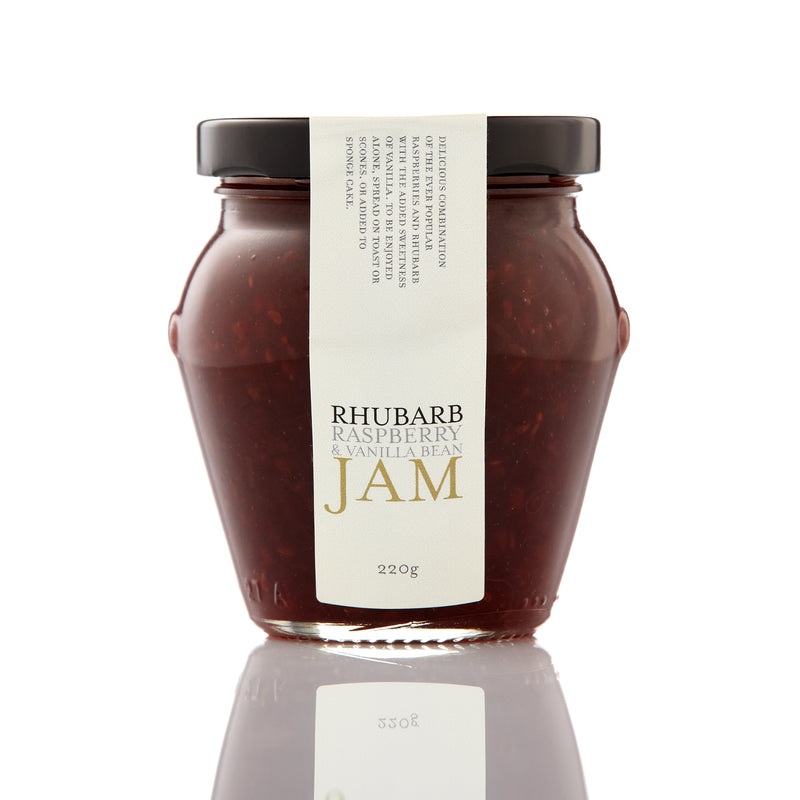 rhubarb, raspberry and vanilla bean jam in a 220 gram glass jar with black lid