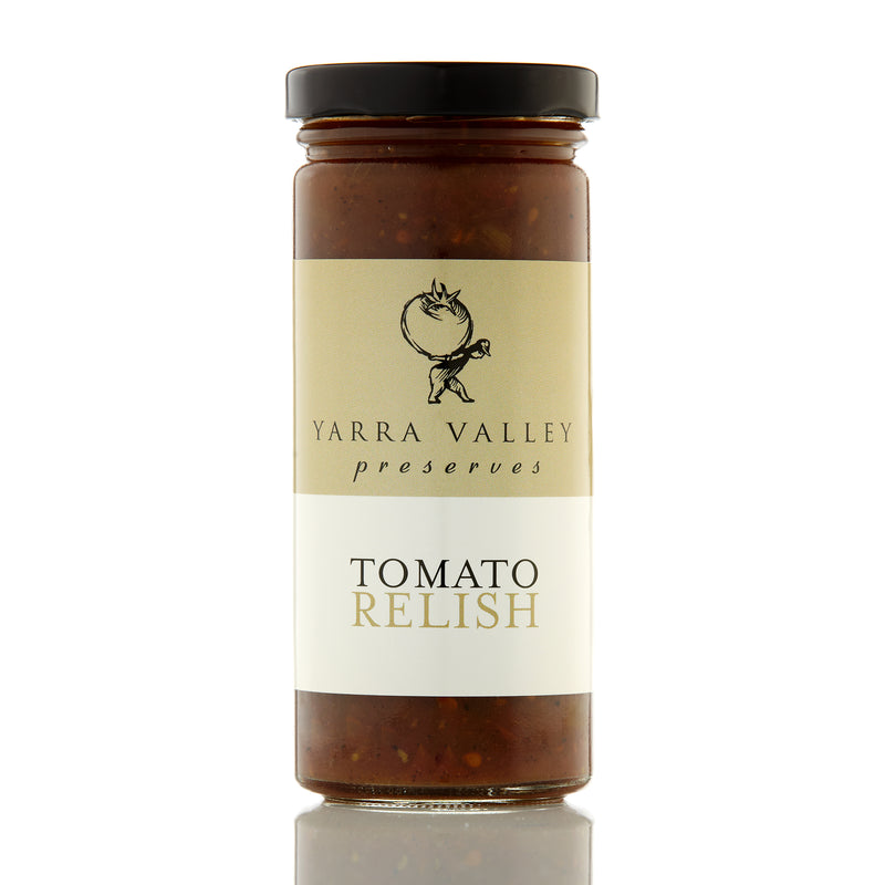 yarra valley preserves tomato relish in a glass jar with black screw top lid