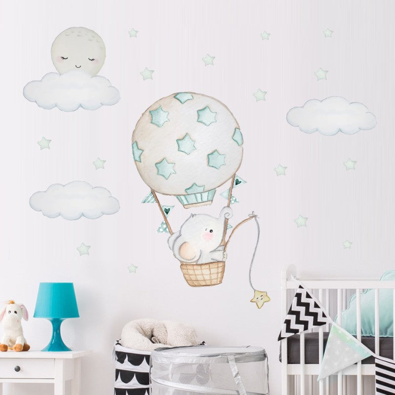 Baby Elephant in a Balloon Wall Sticker