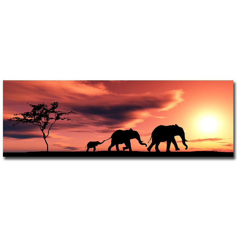Elephant Family in Sunset Canvas Painting