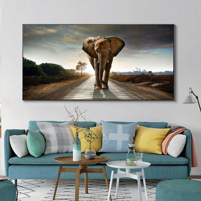 Elephant On The Road Canvas Painting