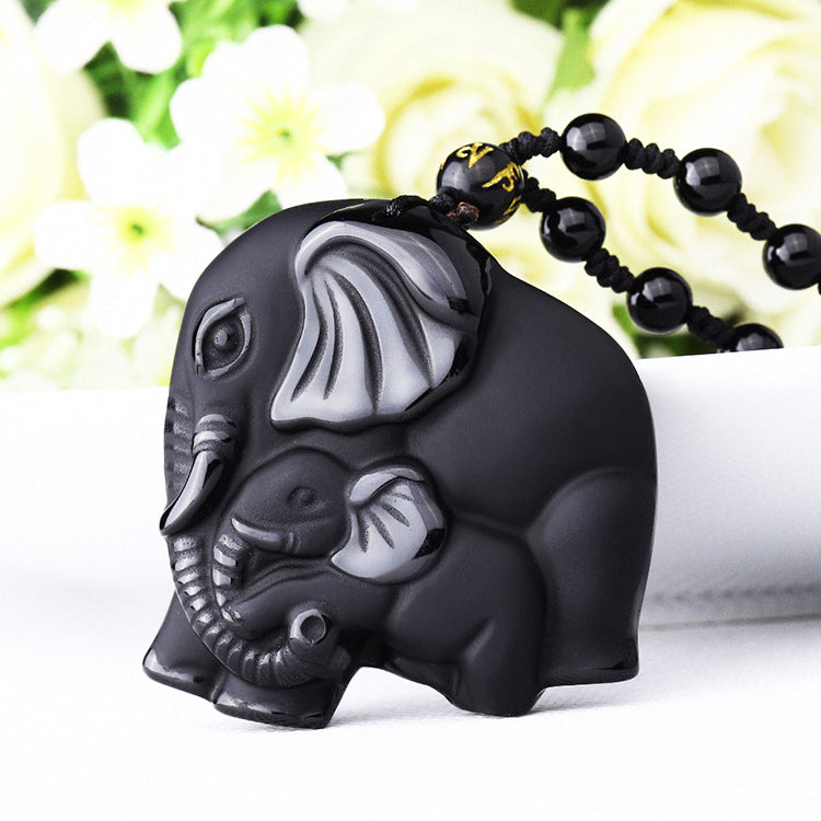 Obsidian Elephant Love Necklace