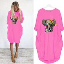 Load image into Gallery viewer, Funky Elephant Long-sleeved Dress