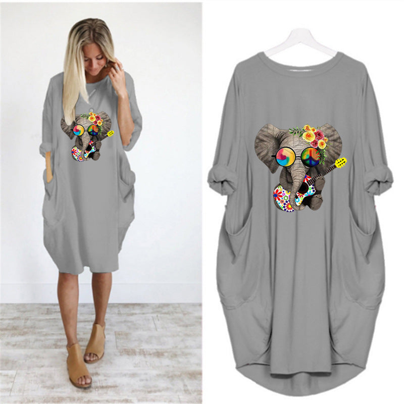 Funky Elephant Long-sleeved Dress