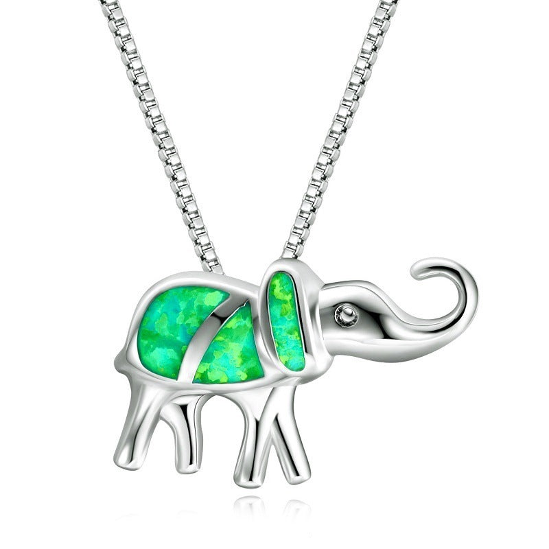 Classic Silver And Gemstone Style Elephant Necklace