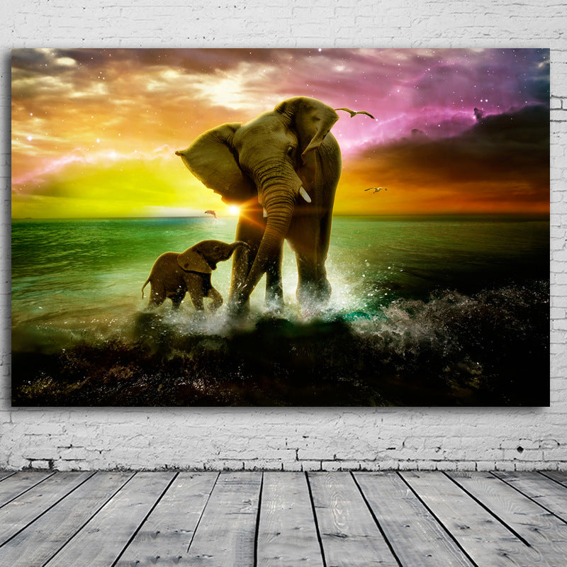 Mother and Calf at Sea Canvas Painting