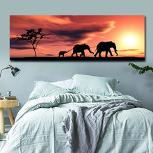 Load image into Gallery viewer, Elephant Family in Sunset Canvas Painting