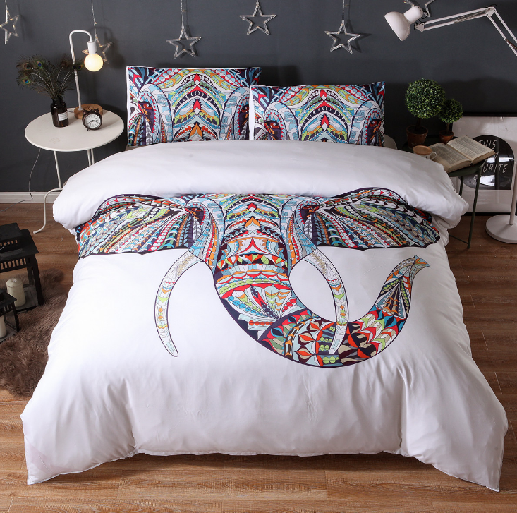 Elephant Head Bedding Set - White